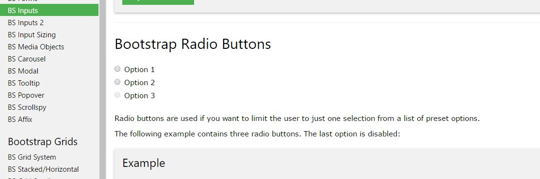 Bootstrap Radio button -  guide