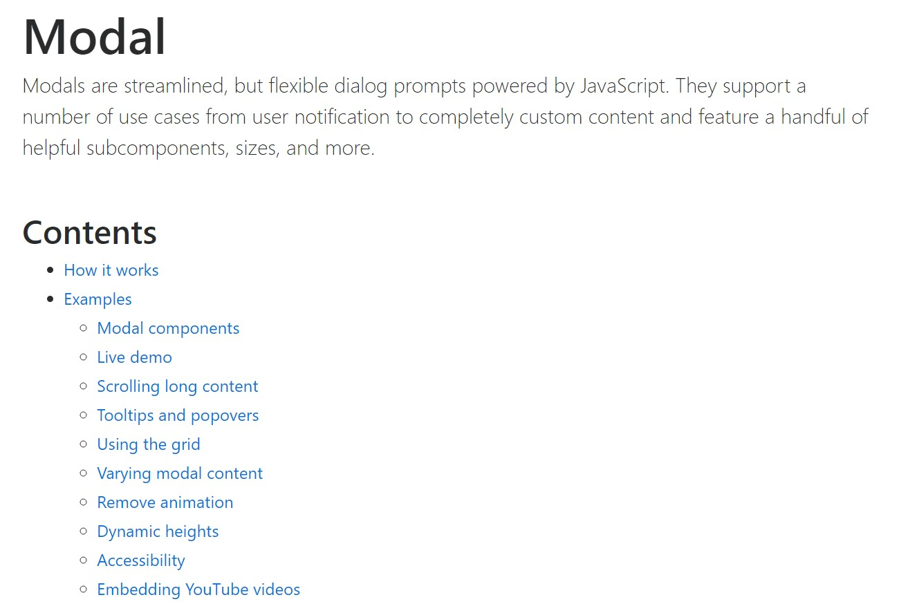Bootstrap Modal Popup: official  documents